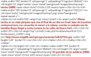 HTML de la página con los elementos resaltados
