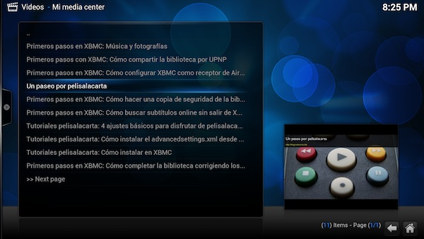 El Add-on de XBMC para Mi media center