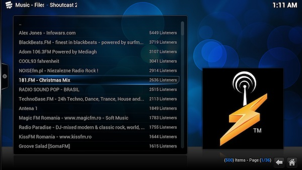 Add-ons para Kodi: Shoutcast