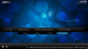 Información de sistema en XBMC
