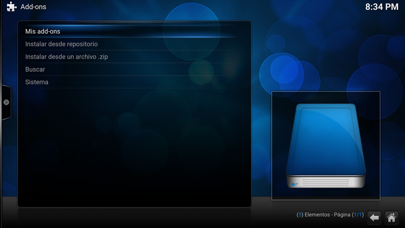 Como desinstalar un add-on en Kodi (paso 3)