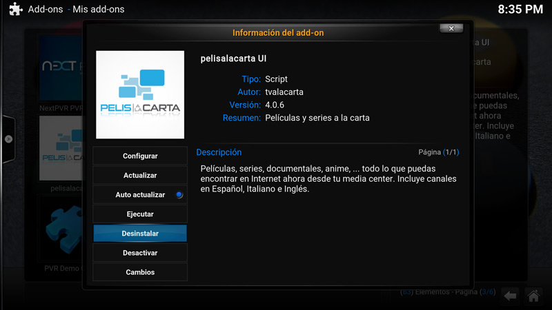 Como desinstalar un add-on en Kodi (paso 7)